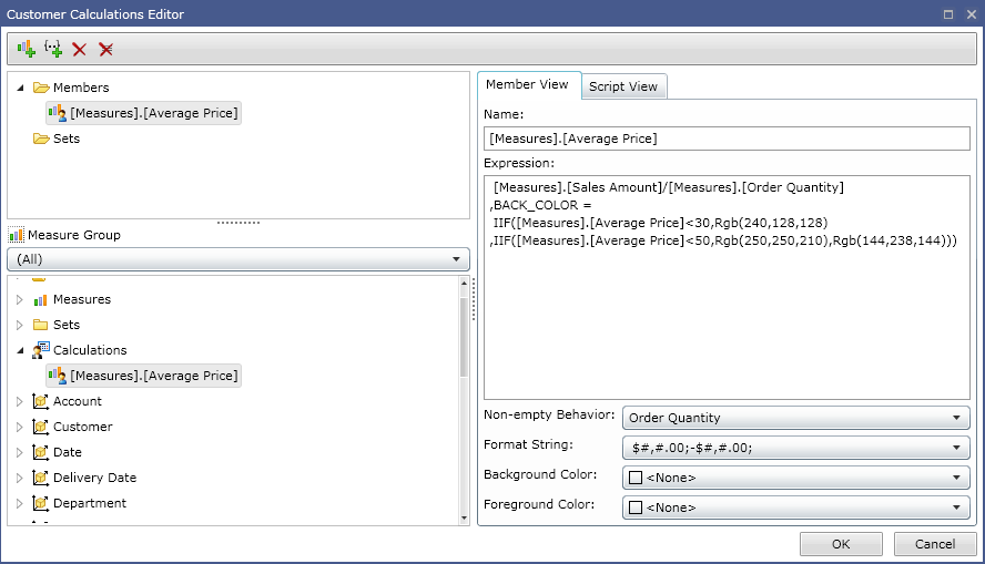 Figure 1. Custom calculation editor in Ranet OLAP.