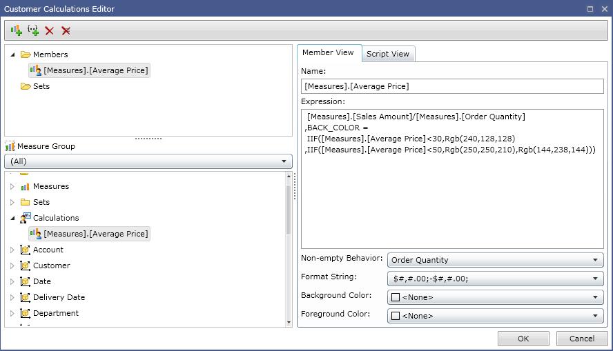 Ranet OLAP custom calculations editor
