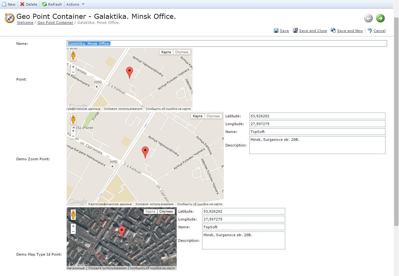 ASPx Google Maps Property Editor