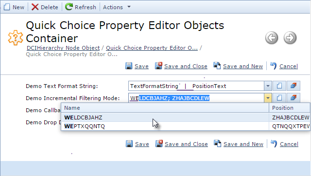 ASPx Quick Choice Property Editor