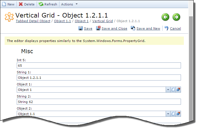 Vertical Grid Property Editor