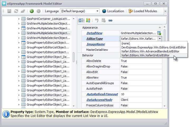 Xafari Grid List Editor