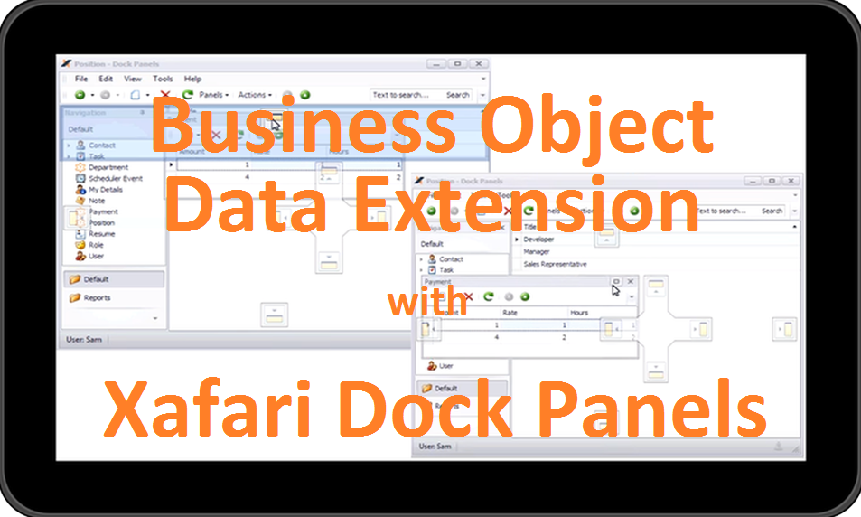Data extension xafari dock panels