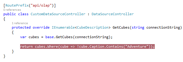 Cube filtering code for cubes that will be the basis of the end users' reports