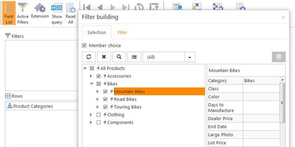 Pivot Table Filters in Ranet OLAP