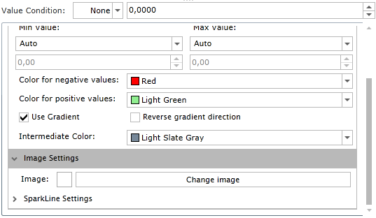 Data bar settings in Ranet OLAP Silverlight.