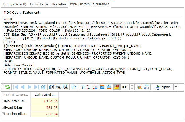 MDX query using custom calculations