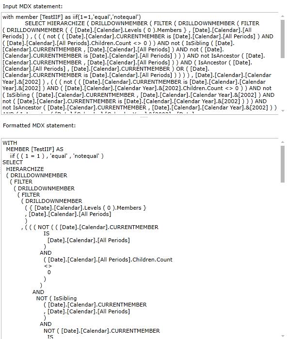 MDX query parser