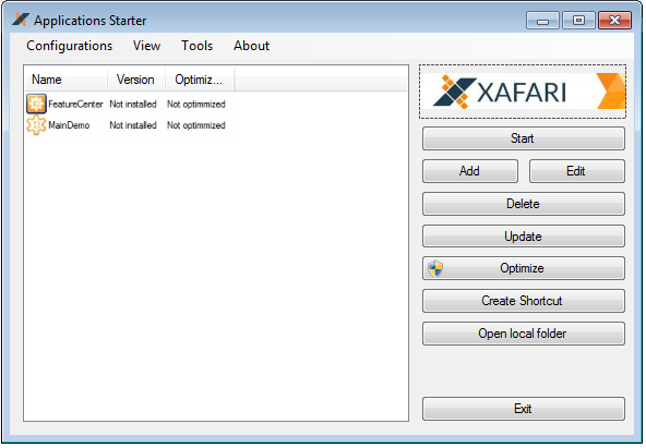 Xafari application starter