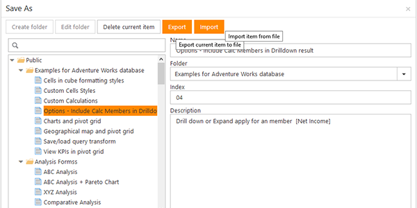 How To Export And Import Pivot Table Report Settings in Ranet OLAP