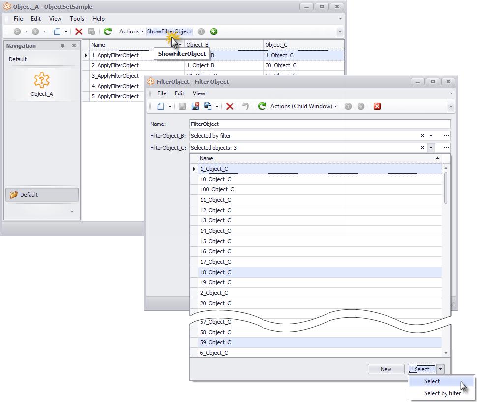 Xafari Object Set Property Editor
