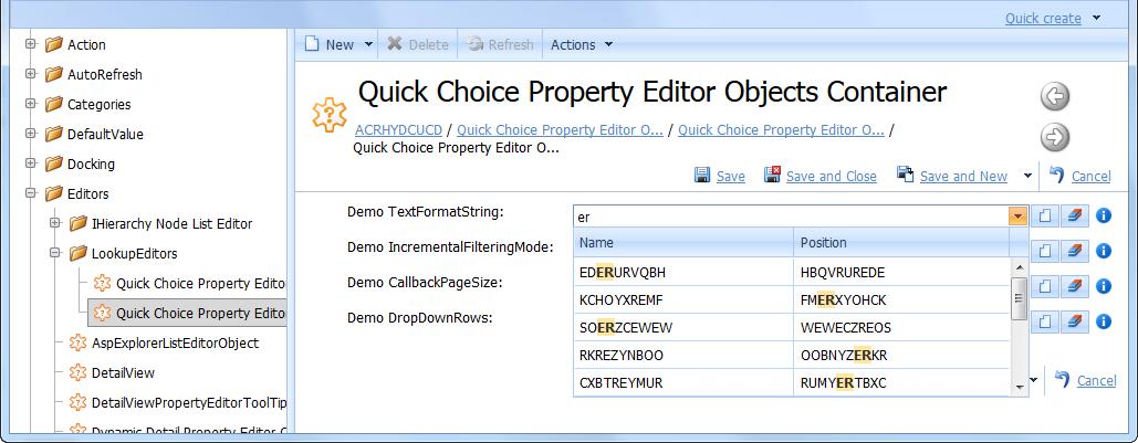 Xafari Quick Choice Property Editor