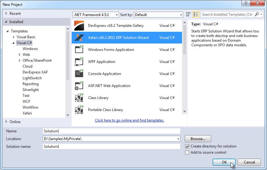 Xafari Visual Studio Templates