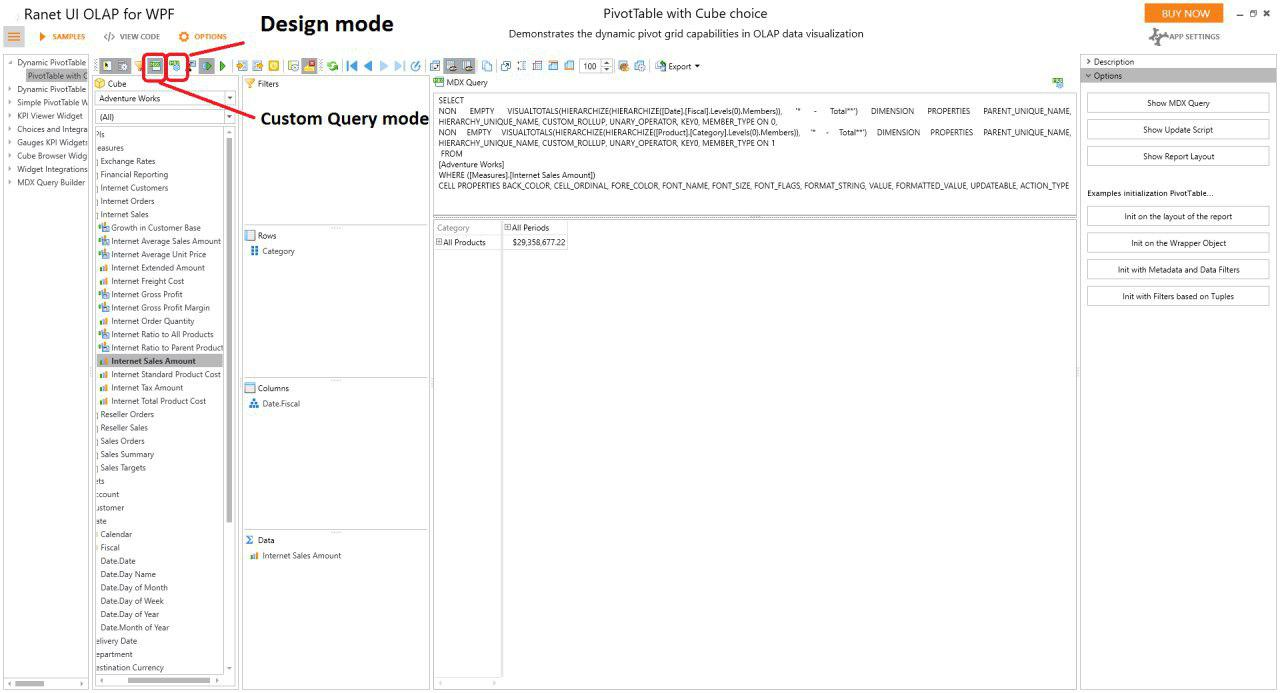 Ranet OLAP MDX Query Builder
