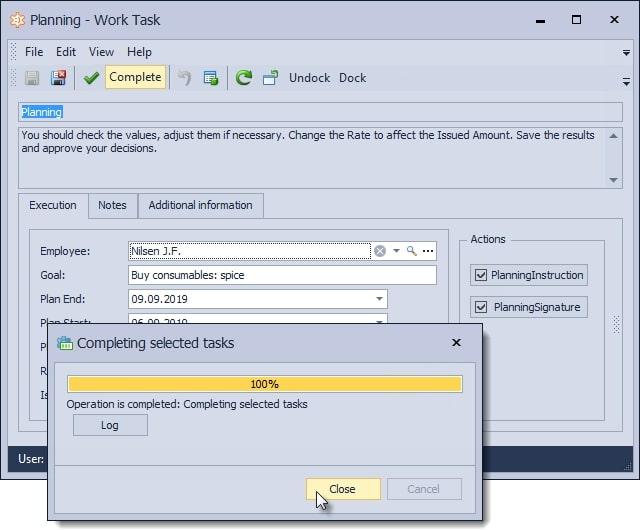 Planning - work task